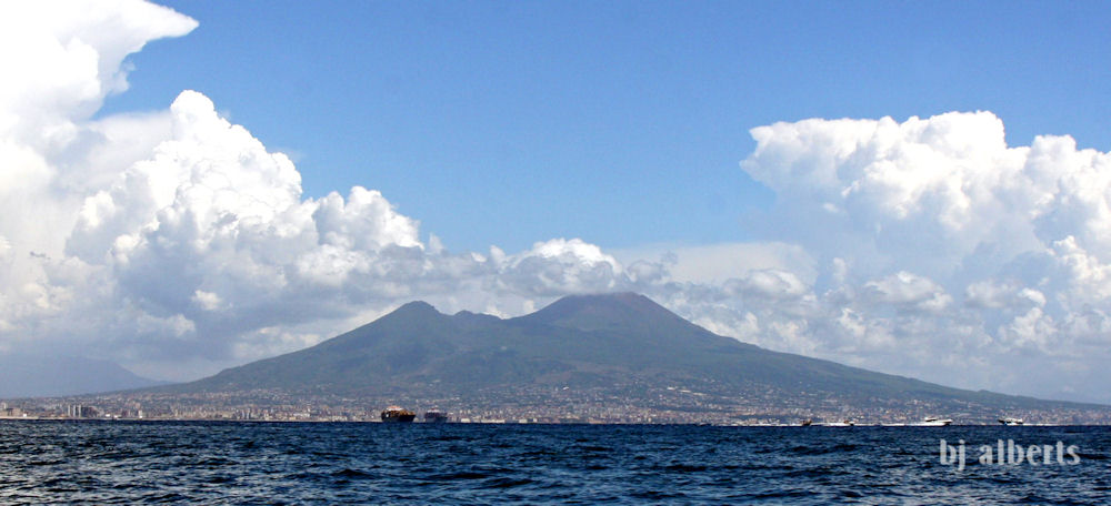 Mount Vesuvius from the Bay of Naples Italy