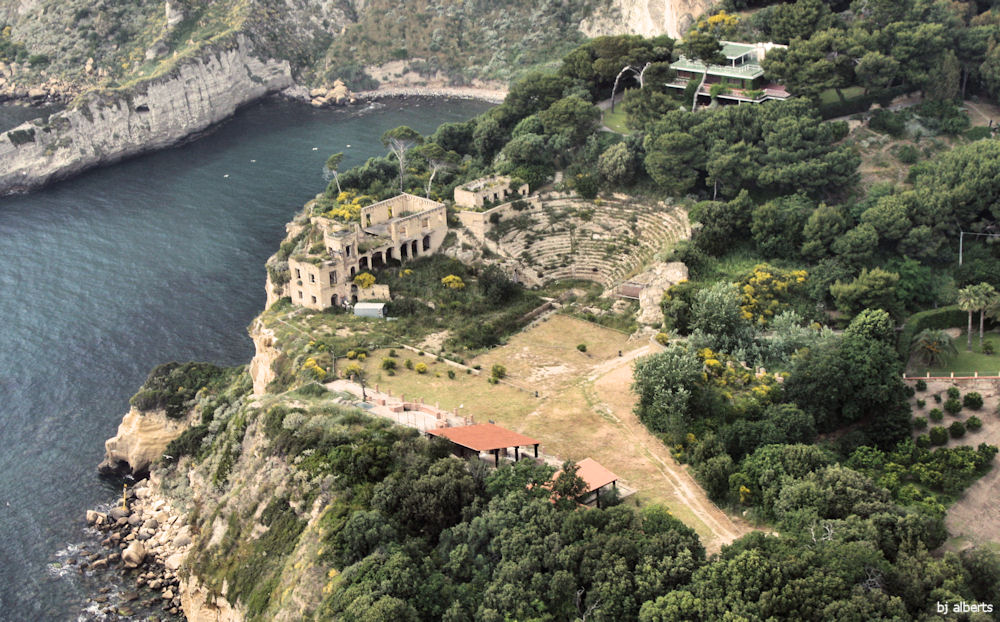 Aerial view of Villa Pausilypon Archaeological Site Posillipo Naples, Italy