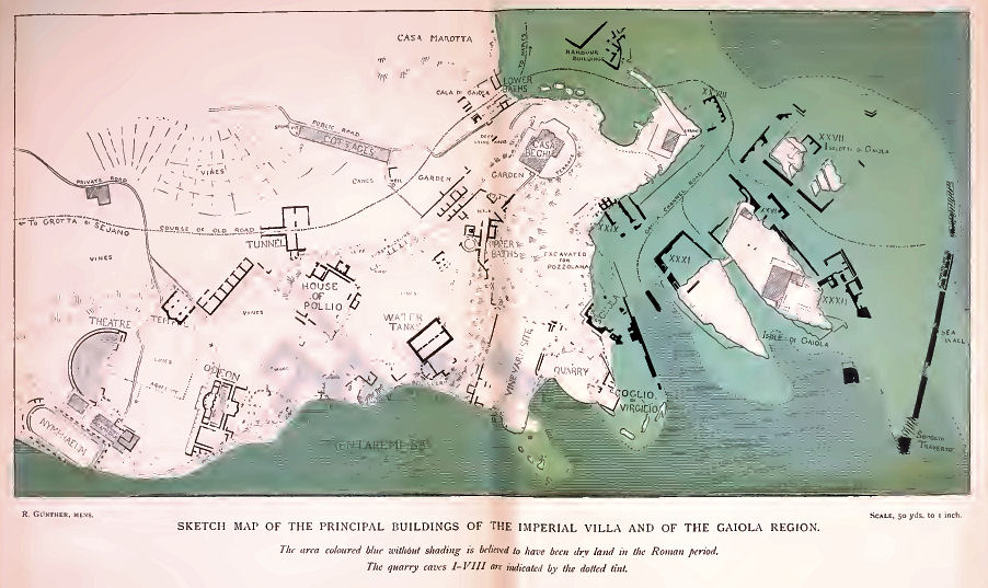 Map of Pausilypon Archaeology Site c. 1913 Naples, Italy