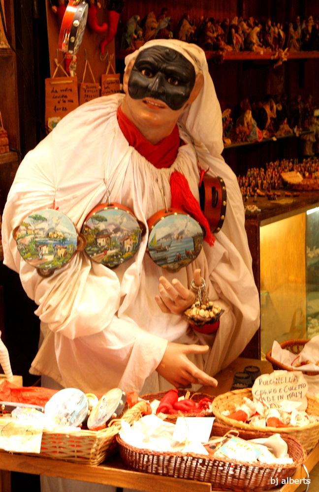 Pulcinella at a shop along Via San Gregorio Armeno in Naples Italy