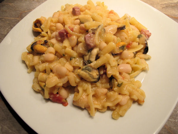 Cooking with Giuseppe - Pasta e Fagioli con le Cozze on a plate