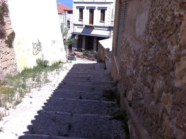 Stairway from Kastelli Hill to the Venetian Harobour Chania, Crete