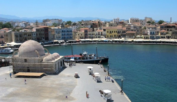View of the Venetian Harbor from Kastelli Hill, Chania, Crete