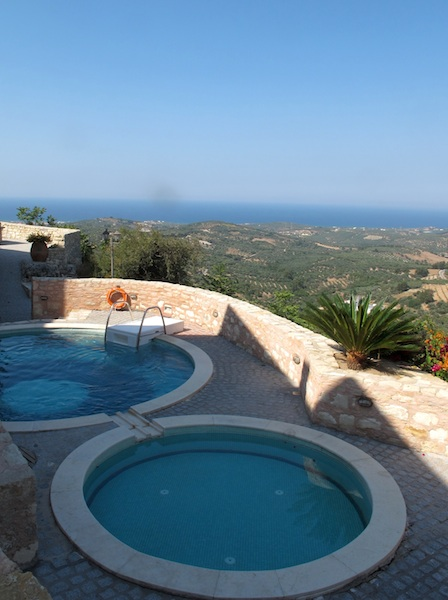 View of the pool and beyond at Kastellos Village