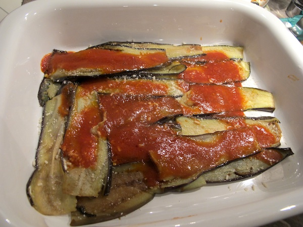 Parmigiana di Melanzane - Top the Eggplant with Sauce