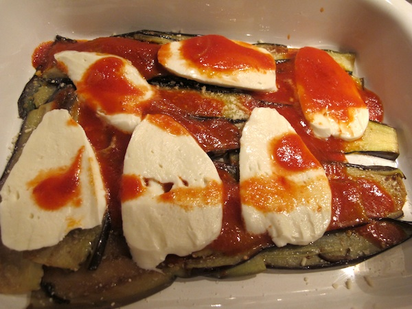 Parmigiana di Melanzane - Top with Mozzarella and Sauce