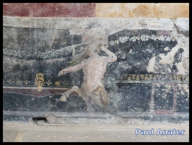 Part of the fresco-ed wall of a boy's bedroom in the Villa San Marco, Stabia