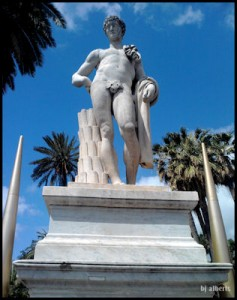 Naples Villa Comunale Park - 18th Century Statue at the Main Entrance