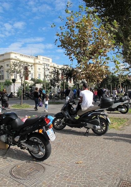 Motos in front of Naples Villa Comunale Park