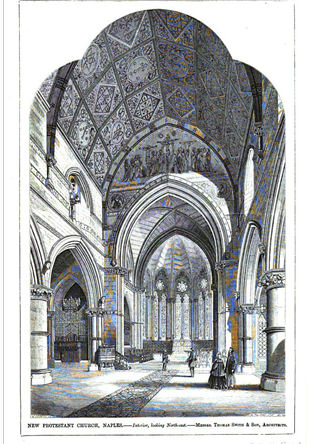 Christ Church Naples Interior  - The Builder, Volume 21, Oct 24, 1863