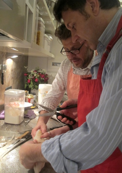 Giuseppe and Massimo Portioning the Baccala Fritto