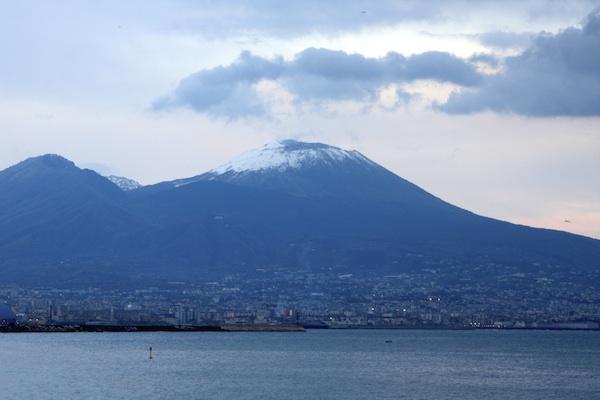 Snow capped Vesuvius, Naples, Italy