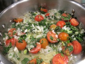 Spigola al Forno - Saute the Tomatoes, Onions and Herbs