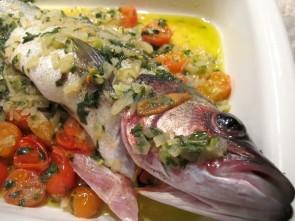 Spigola al Forno - Pour the sauce over the Spigola