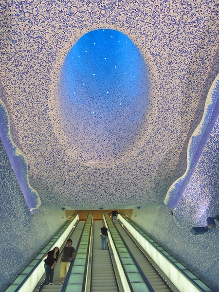 Crater of the Toledo Metro Station in Naples, Italy